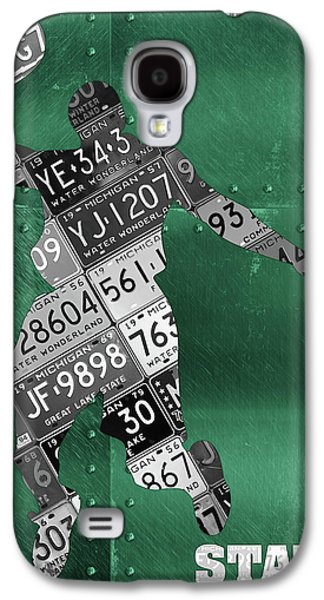 Michigan State Galaxy S4 Case - Michigan State Spartans Basketball Player Recycled Michigan License Plate Art by Design Turnpike