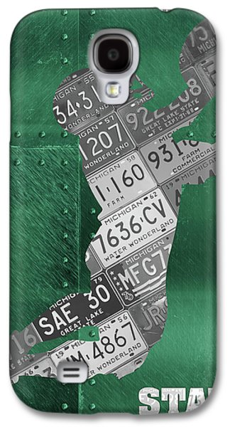 Michigan State Galaxy S4 Case - Michigan State Spartans Receiver Recycled Michigan License Plate Art by Design Turnpike