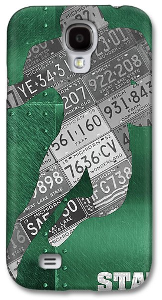 Michigan State Galaxy S4 Case - Michigan State Spartans Running Back Recycled Michigan License Plate Art by Design Turnpike