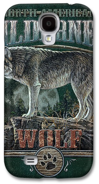 Wilderness Paintings Galaxy S4 Cases - Midnight Wolf Sign Galaxy S4 Case by JQ Licensing