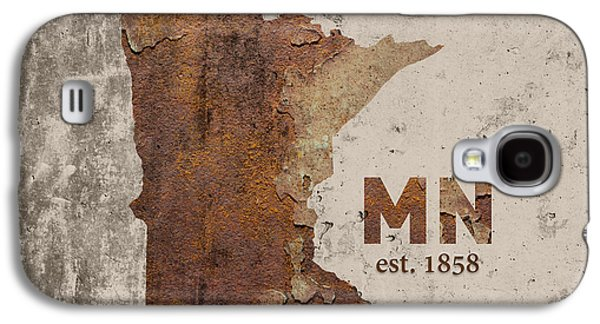 Minnesota State Map Industrial Rusted Metal On Cement Wall With Founding Date Series 036 Galaxy S4 Case by Design Turnpike