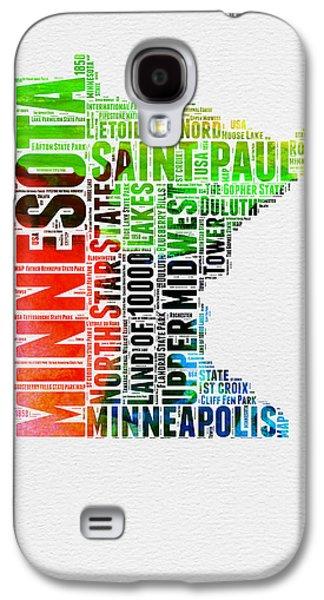 Minnesota Watercolor Word Cloud Map  Galaxy S4 Case by Naxart Studio