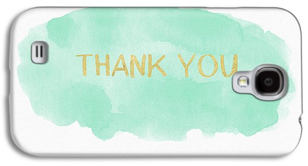Mint And Gold Watercolor Thank You- Art By Linda Woods Galaxy S4 Case