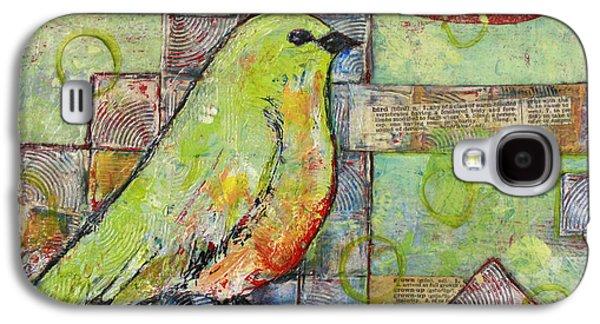 Birds Galaxy S4 Cases - Mint Green Bird Art Galaxy S4 Case by Blenda Studio