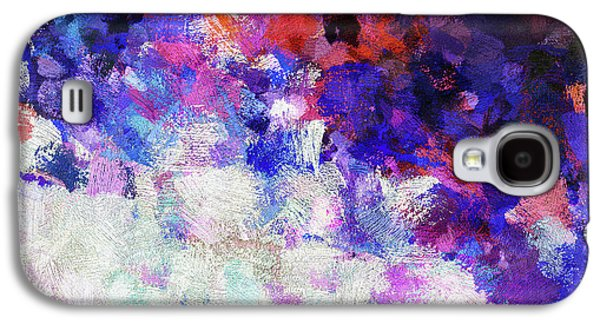 Modern Abstract Painting In Blue Galaxy S4 Case by Ayse Deniz