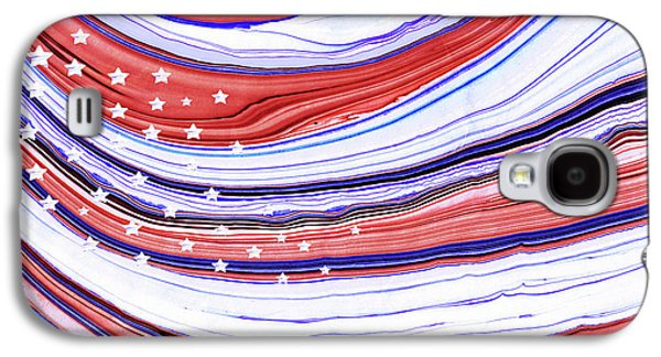 Modern American Flag - Red White And Blue - Sharon Cummings Galaxy S4 Case by Sharon Cummings