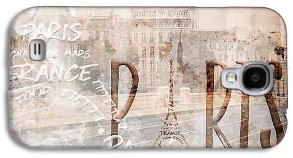 Modern Art Paris Collage Galaxy S4 Case by Melanie Viola