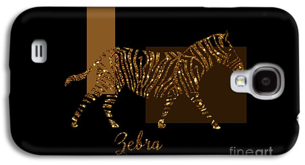 Modern Golden Zebra, Gold Black Brown Galaxy S4 Case