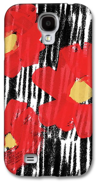 Floral Abstract Galaxy S4 Case - Modern Red Flowers- Art By Linda Woods by Linda Woods