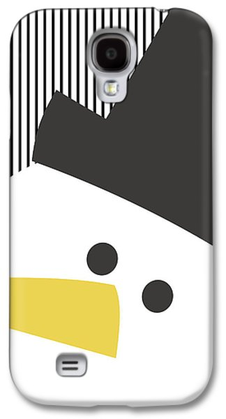 Modern Snowman On Stripes- Art By Linda Woods Galaxy S4 Case by Linda Woods