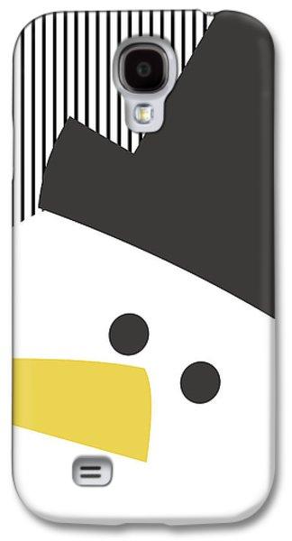 Modern Snowman On Stripes- Art By Linda Woods Galaxy S4 Case by Linda Woods