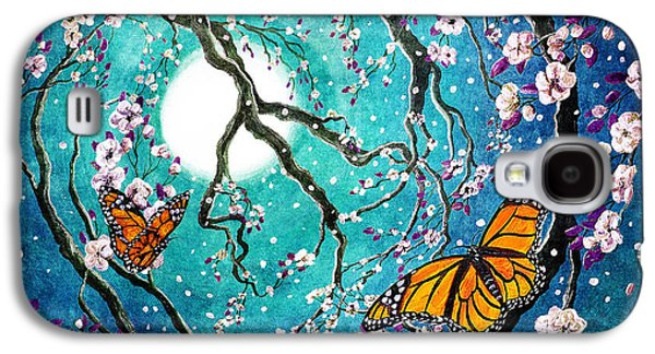 Monarch Butterflies In Teal Moonlight Galaxy S4 Case by Laura Iverson