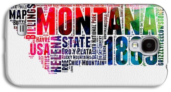 Montana Watercolor Word Cloud  Galaxy S4 Case by Naxart Studio