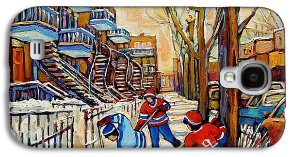 Hockey Sweaters Paintings Galaxy S4 Cases - Montreal Hockey Game With 3 Boys Galaxy S4 Case by Carole Spandau