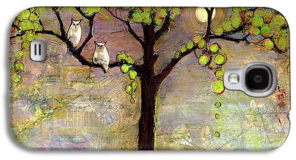 Moon River Tree Owls Art Galaxy S4 Case