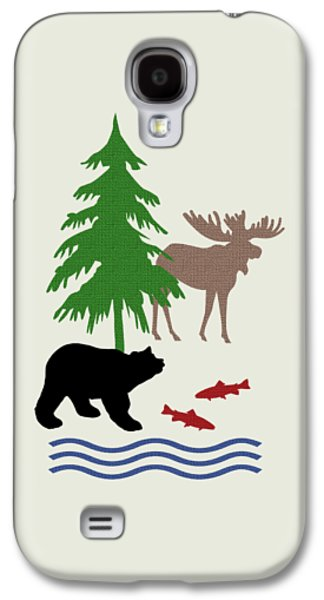 Moose And Bear Pattern Art Galaxy S4 Case by Christina Rollo
