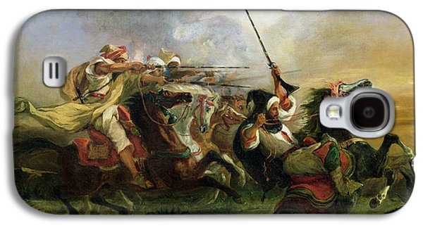 Animals Paintings Galaxy S4 Cases - Moroccan horsemen in military action Galaxy S4 Case by Ferdinand Victor Eugene Delacroix