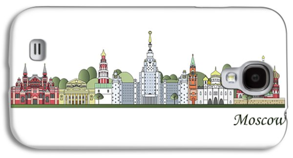 Moscow Skyline Colored Galaxy S4 Case by Pablo Romero