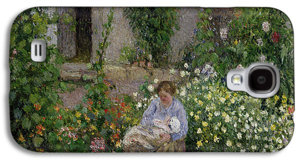 Mother And Child In The Flowers Galaxy S4 Case by Camille Pissarro