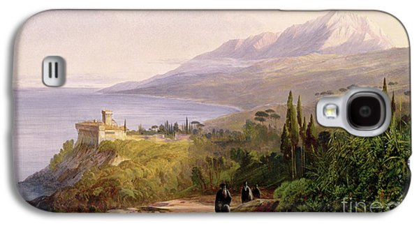 Mount Athos And The Monastery Of Stavroniketes Galaxy S4 Case by Edward Lear