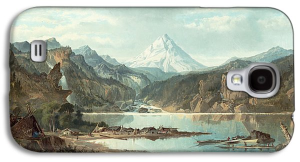 Snow Capped Galaxy S4 Cases - Mountain Landscape with Indians Galaxy S4 Case by John Mix Stanley