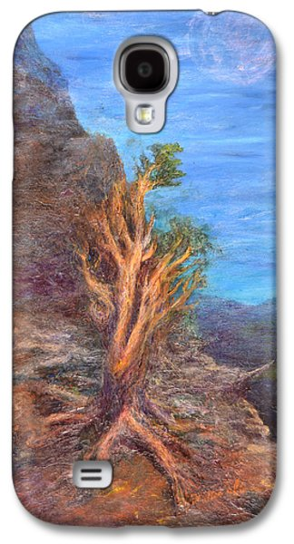 Mountain Tree With Moon Galaxy S4 Case by Walter Idema