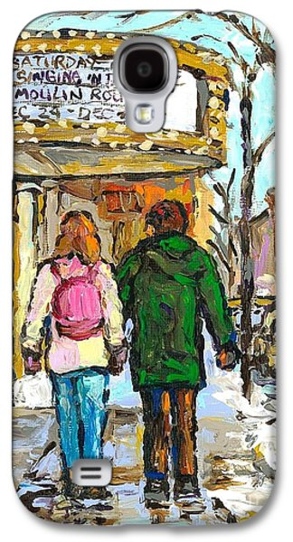 Movie Marquee Painting Canadian Art Young Couple Winter Walk Park Ave Montreal Scene Carole Spandau  Galaxy S4 Case by Carole Spandau