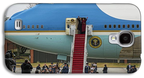 Mr And Mrs Obama Waving Goodbye After Leaving Office Galaxy S4 Case by Valentina Lopez