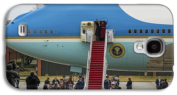 Mr And Mrs Obama Waving Goodbye After Leaving Office Galaxy S4 Case