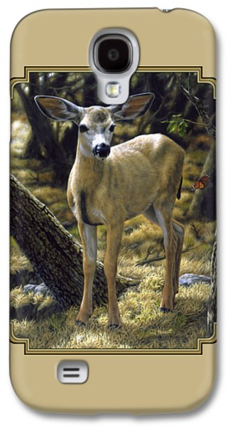 Mule Deer Fawn - Monarch Moment Galaxy S4 Case by Crista Forest