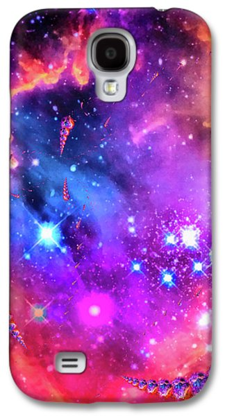 Orange Galaxy S4 Case - Multi Colored Space Chaos by Matthias Hauser