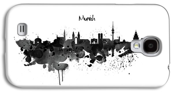 Munich Black And White Skyline Silhouette Galaxy S4 Case by Marian Voicu