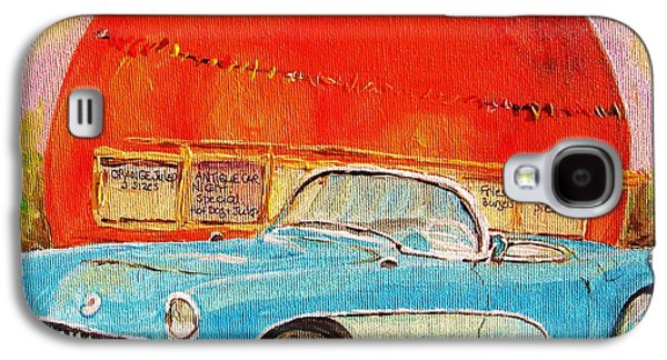 Montreal Storefronts Paintings Galaxy S4 Cases - My Blue Corvette at the Orange Julep Galaxy S4 Case by Carole Spandau
