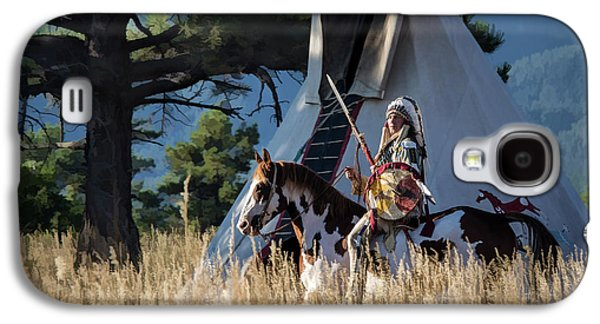 Native American In Full Headdress In Front Of Teepee Galaxy S4 Case