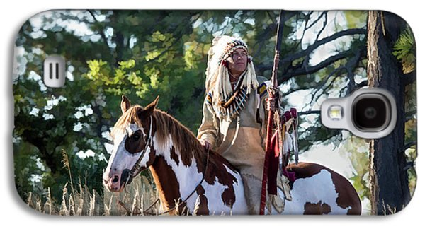 Native American In Full Headdress On A Paint Horse Galaxy S4 Case