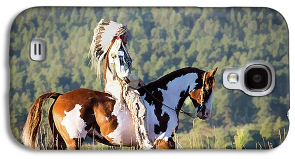 Native American On His Paint Horse Galaxy S4 Case
