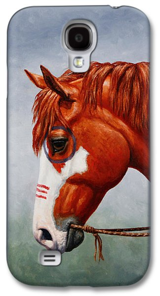 Chestnut Horse Galaxy S4 Cases - Native American War Horse Phone Case Galaxy S4 Case by Crista Forest