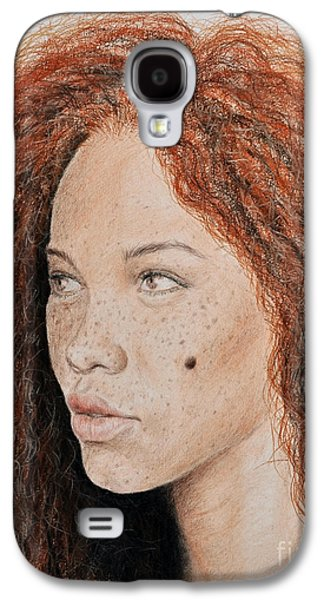 Natural Beauty With Red Hair  Galaxy S4 Case by Jim Fitzpatrick