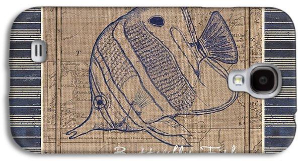 Nautical Stripes Butterfly Fish Galaxy S4 Case by Debbie DeWitt