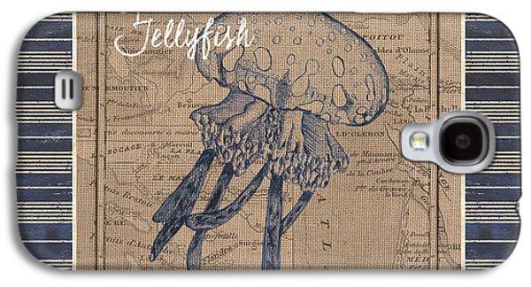 Nautical Stripes Jellyfish Galaxy S4 Case by Debbie DeWitt