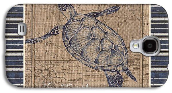 Nautical Stripes Sea Turtle Galaxy S4 Case by Debbie DeWitt
