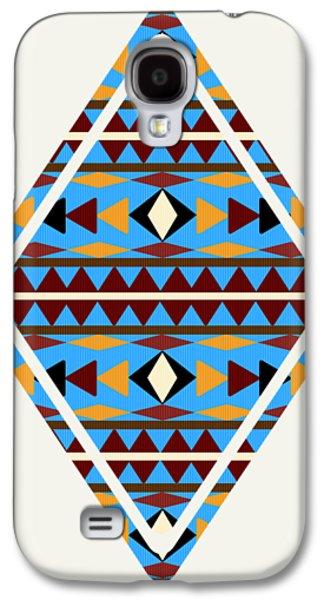 Navajo Blue Pattern Art Galaxy S4 Case by Christina Rollo
