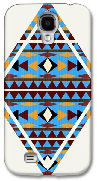 Navajo Blue Pattern Art Galaxy S4 Case by Christina Rollo