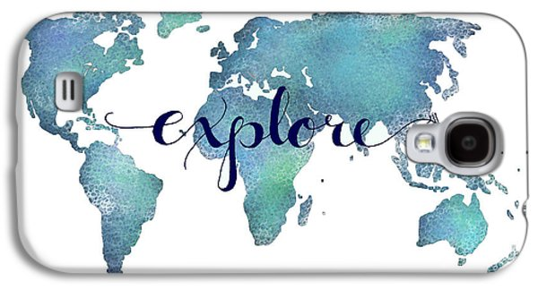 Navy And Teal Explore World Map Galaxy S4 Case