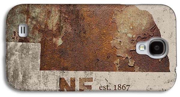 Nebraska State Map Industrial Rusted Metal On Cement Wall With Founding Date Series 039 Galaxy S4 Case by Design Turnpike
