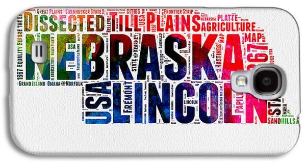 Nebraska Galaxy S4 Case - Nebraska Watercolor Word Cloud  by Naxart Studio