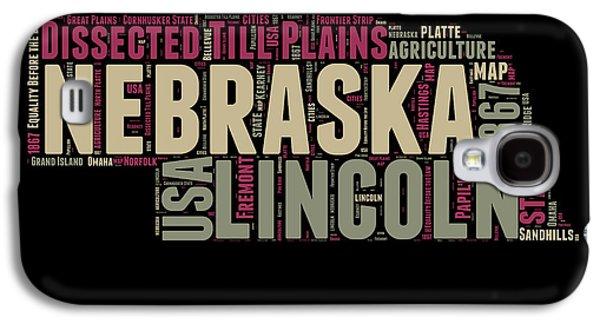 Nebraska Galaxy S4 Case - Nebraska Word Cloud 1 by Naxart Studio