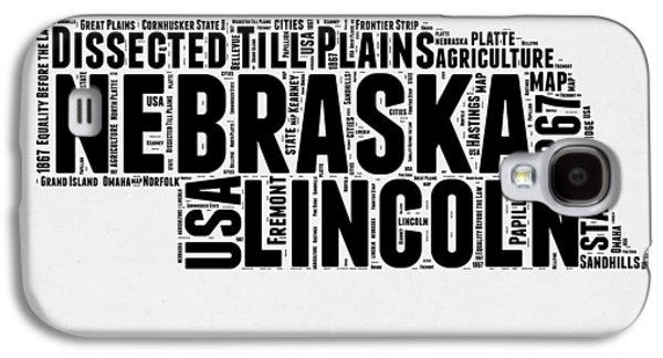 Nebraska Galaxy S4 Case - Nebraska Word Cloud 2 by Naxart Studio