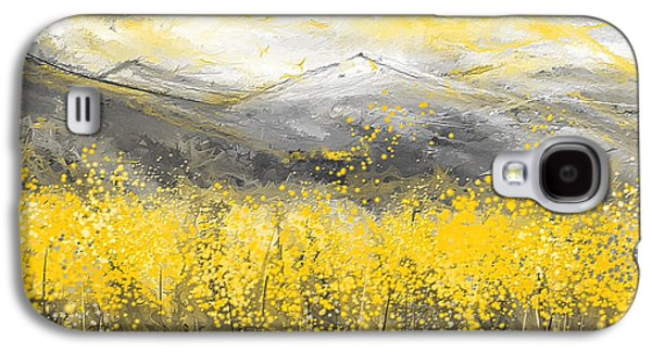 Neutral Sun - Yellow And Gray Art Galaxy S4 Case by Lourry Legarde