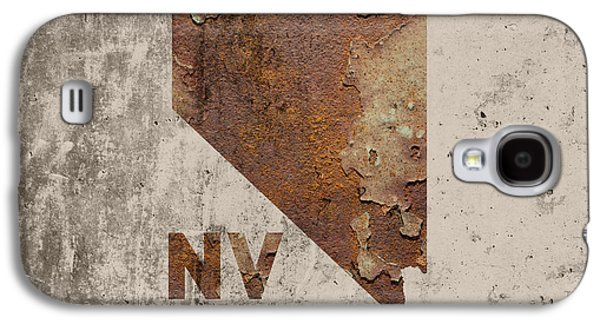 Nevada State Map Industrial Rusted Metal On Cement Wall With Founding Date Series 044 Galaxy S4 Case by Design Turnpike